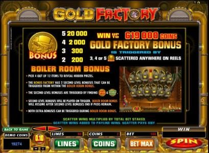 Vegas Palms featuring the Video Slots Gold Factory with a maximum payout of $25,000