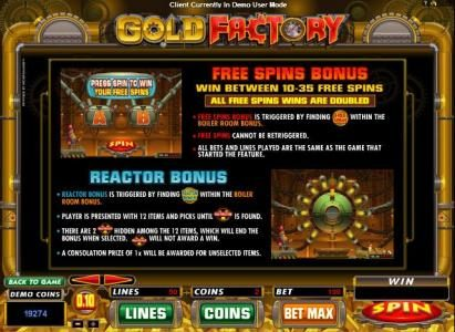 Oshi featuring the Video Slots Gold Factory with a maximum payout of $25,000