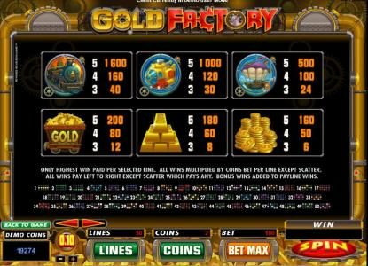 Lucky Nugget featuring the Video Slots Gold Factory with a maximum payout of $25,000