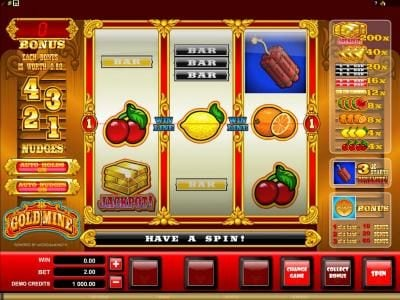 Play slots at UK Casino Club: UK Casino Club featuring the Video Slots Gold Mine with a maximum payout of $2,000