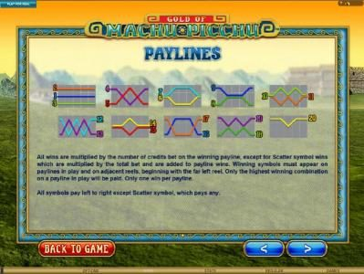 EU Casino featuring the Video Slots Gold Of Machu Picchu with a maximum payout of $37,500