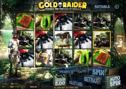 Solara featuring the Video Slots Gold Raider with a maximum payout of $40,000