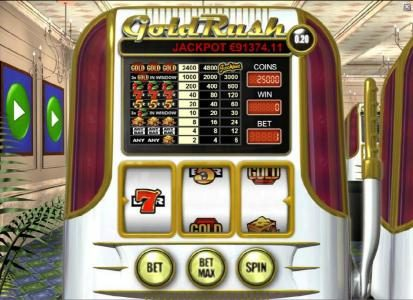 Play slots at Zet Casino: Zet Casino featuring the Video Slots Gold Rush with a maximum payout of $960