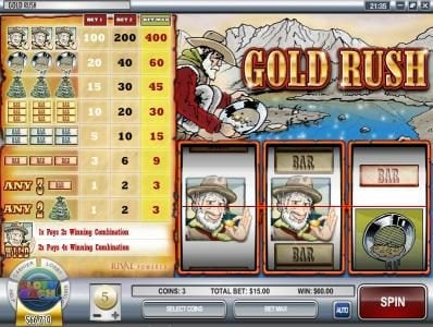 Golden Lady featuring the Video Slots Gold Rush with a maximum payout of $12,000