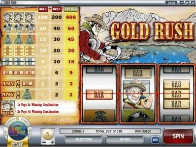 Break Away featuring the Video Slots Gold Rush with a maximum payout of $12,000