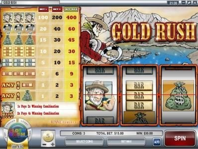 Winbig21 featuring the Video Slots Gold Rush with a maximum payout of $12,000