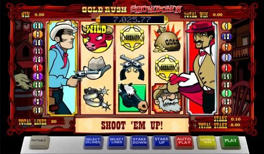 Spin Station featuring the Video Slots Gold Rush Showdown with a maximum payout of Jackpot