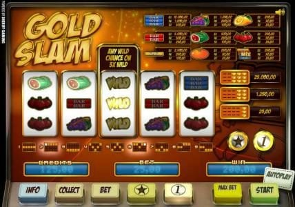Casino Kaiser featuring the Video Slots Gold Slam with a maximum payout of 25,000.00