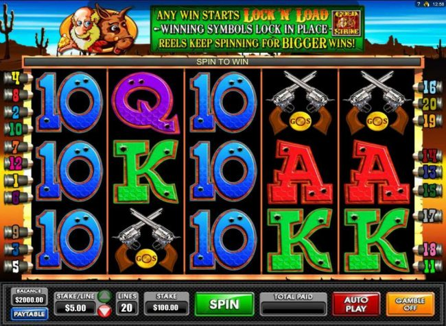 Wild Jack featuring the Video Slots Gold Strike with a maximum payout of $1,250