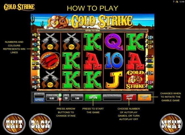 Monaco Aces featuring the Video Slots Gold Strike with a maximum payout of $1,250