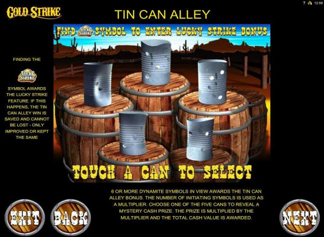 Tin Can Alley Bonus Feature Rules