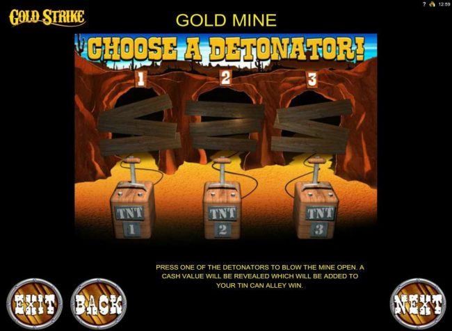 Gold Mine Bonus Feature - Choose a detonator to reveal a prize award