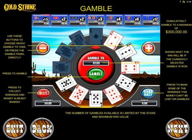 Casino Share featuring the Video Slots Gold Strike with a maximum payout of $1,250