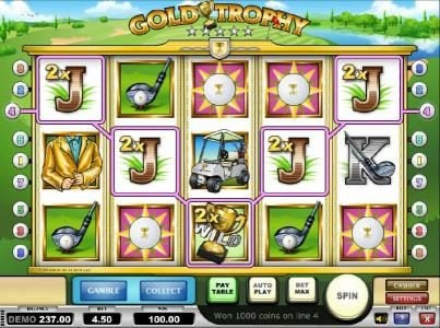 Split Aces featuring the Video Slots Gold Trophy with a maximum payout of $250.