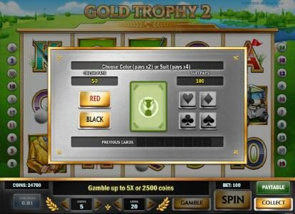 Casumo featuring the Video Slots Gold Trophy 2 with a maximum payout of $1,250