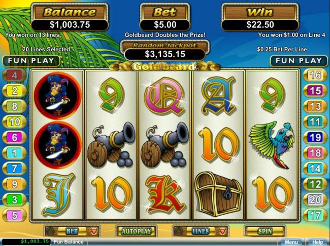Play slots at Las Vegas USA: Las Vegas USA featuring the Video Slots Goldbeard with a maximum payout of $250,000