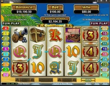 Vegas Casino Online featuring the Video Slots Goldbeard with a maximum payout of $250,000