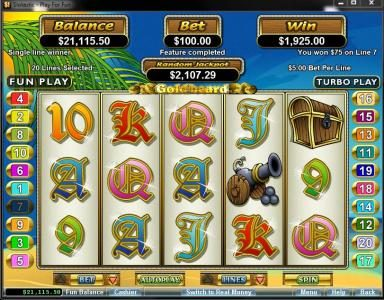 Red Dog featuring the Video Slots Goldbeard with a maximum payout of $250,000