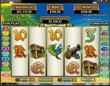 Planet7 Oz featuring the Video Slots Goldbeard with a maximum payout of $250,000