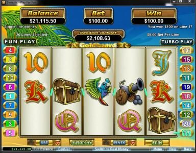 Captain Jacks featuring the Video Slots Goldbeard with a maximum payout of $250,000