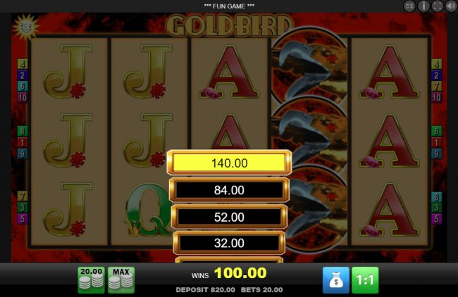 Play slots at Spinrider: Spinrider featuring the Video Slots Goldbird with a maximum payout of $10,000