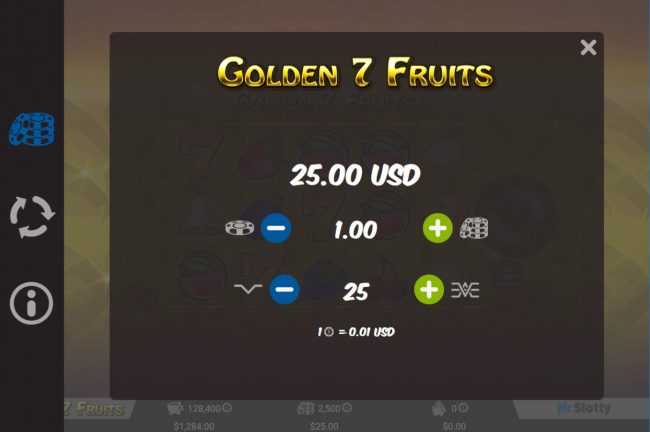 X-Bet featuring the Video Slots Golden 7 Fruits with a maximum payout of $50,000