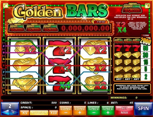 Golden Bars :: A Vegas classice 3-reel themed main game board featuring three reels and 9 paylines with a progressive jackpot max payout.