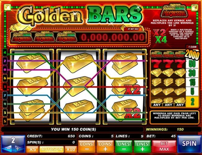 Golden Bars :: Multiple winning paylines triggers a 150 coin big win!