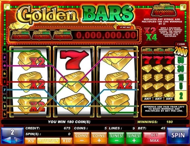 Golden Bars :: Multiple winning paylines and X2 multipliers triggers a 180 coin pay out.