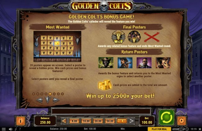 Casino Mate featuring the Video Slots Golden Colts with a maximum payout of $250,000