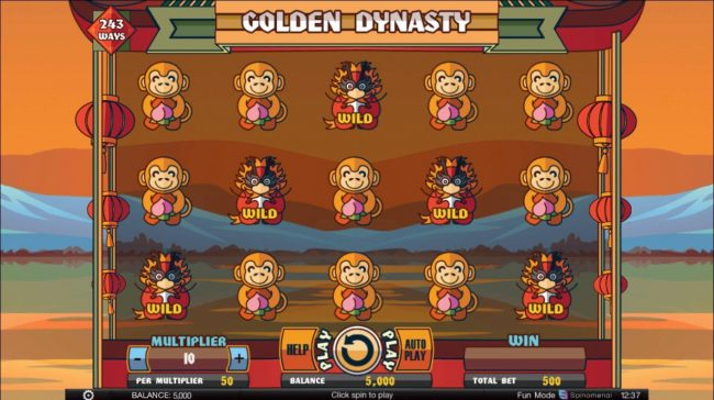 Golden Dynasty :: Main game board featuring five reels and 243 winning combinations with a $20,000 max payout.