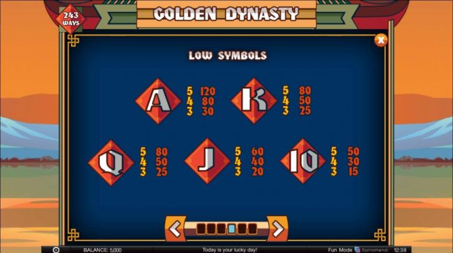 Golden Dynasty :: Low value game symbols paytable.