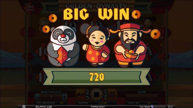 Golden Dynasty :: A 720 coin Big Win!
