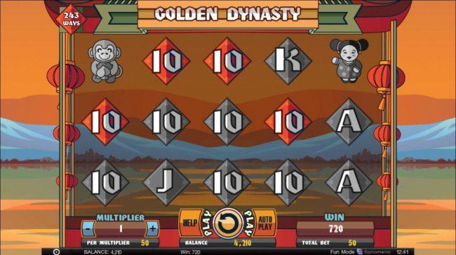 Golden Dynasty :: Multiple winning 10 symbols triggers a 720 coin jackpot.