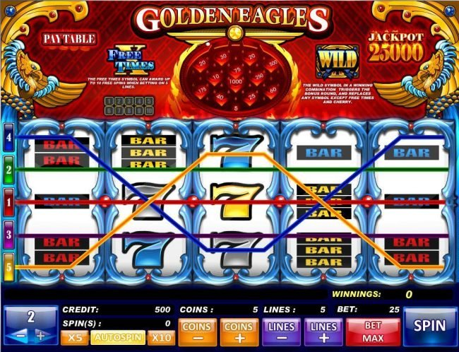 Play slots at Malibu Club: Maulibu Club featuring the Video Slots Golden Eagles with a maximum payout of $250,000