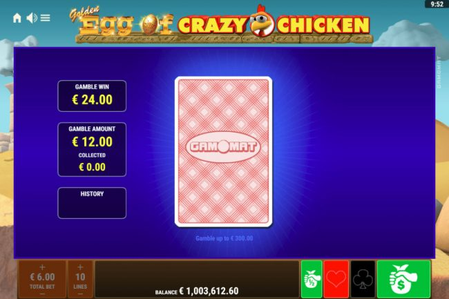 Golden Egg of Crazy Chicken :: Red or Black Gamble feature