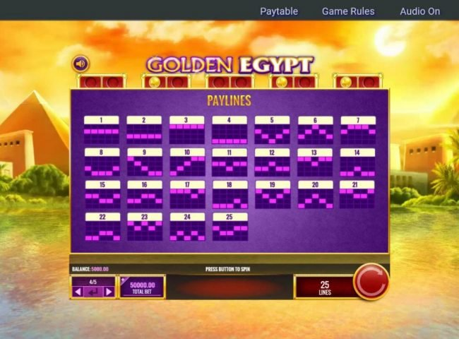 Clover Casino featuring the Video Slots Golden Egypt with a maximum payout of $25,000,000