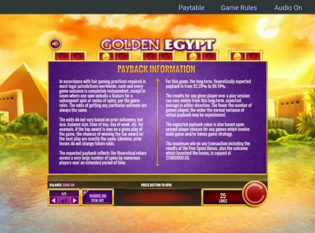 My Bet featuring the Video Slots Golden Egypt with a maximum payout of $25,000,000