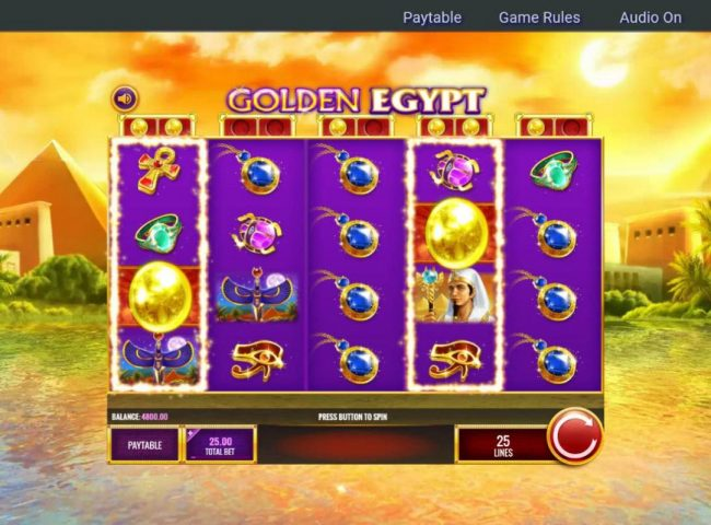 Casino Club featuring the Video Slots Golden Egypt with a maximum payout of $25,000,000