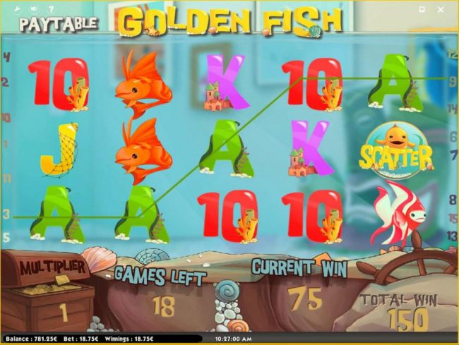 Oshi featuring the Video Slots Golden Fish with a maximum payout of $150,000