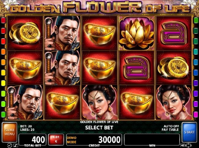 An Asian themed main game board featuring five reels and 20 paylines with a $450,000 max payout