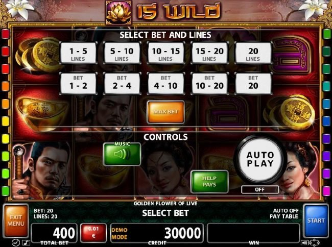 Select Bet and Lines - 1 to 20 Lines and 1 to 20 coins per line.
