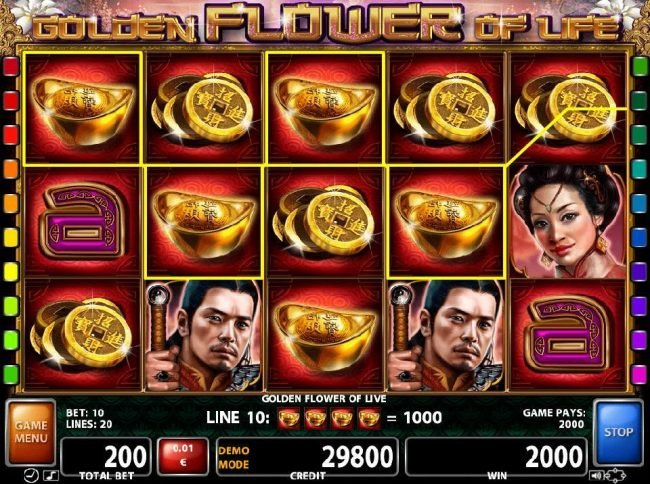 Four of a Kinds trigger a 2000 credit jackpot
