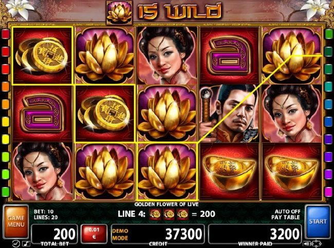 Multiple winning paylines triggered by gold lotus flower wild symbol
