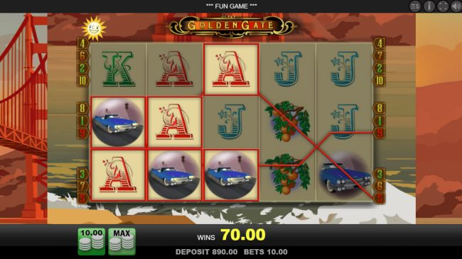 Reel Vegas featuring the Video Slots Golden Gate with a maximum payout of $2,000