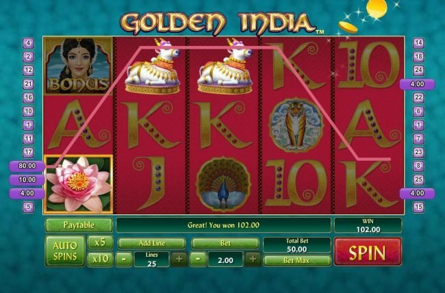 AdamEve featuring the Video Slots Golden India with a maximum payout of $400