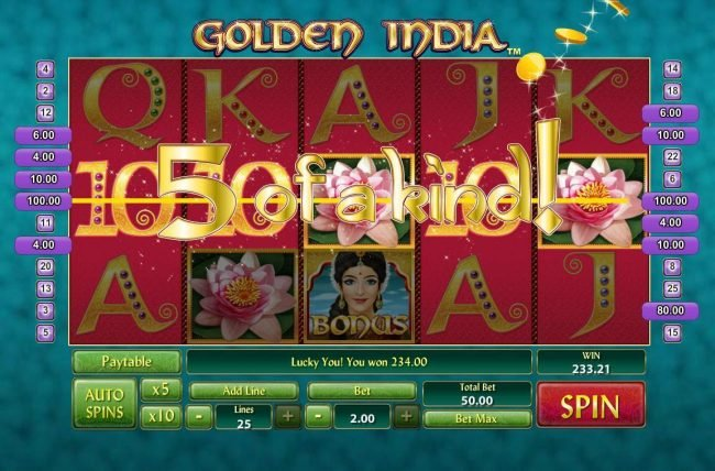 Lota Play featuring the Video Slots Golden India with a maximum payout of $400