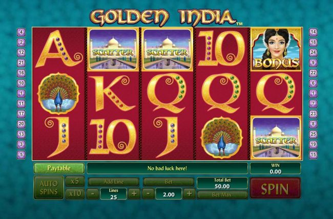 Casino Lucky Win featuring the Video Slots Golden India with a maximum payout of $400