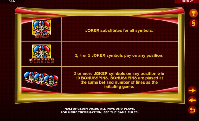 Norske Casino featuring the Video Slots Golden Joker with a maximum payout of $75,000