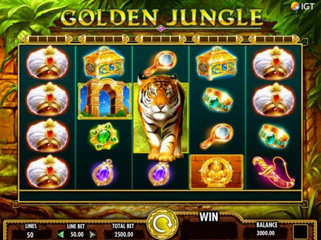 An Indian jungle themed main game board featuring five reels and 50 paylines with a $250,000 max payout